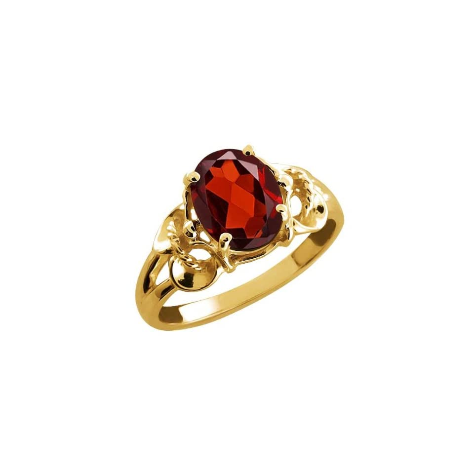 2.00 Ct Oval Red Garnet 18k Yellow Gold Ring