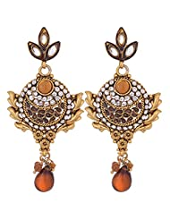 Charvi Jewels Antique Designer Gold Plated Khakho Pearls Earring For Women