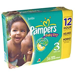 Pampers Baby Dry Diapers Size 3 Jumbo Bag 36 Count (Pack of 4)