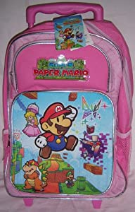 "Nintendo Super Paper Mario 15"" Rolling Backpack Pink School Bookbag"