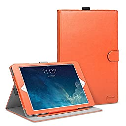 iPad Air 2 Case, Cambond Ultra Slim / Light Weight Smart Stand Case Cover with Card Slots and Stylus Holder, Protective Premium PU Leather Cover Case for Apple iPad Air 2 (Vibrant Orange)