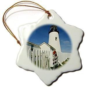 3dRose orn_90602_1 USA, Maine, Pemaquid Lighthouse-US20 BTH0002-Brenda Tharp-Snowflake Ornament, Porcelain, 3-Inch
