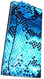 2016年 金運アップ!サマになる女性のパイソン型押し三つ折長財布 [ CUTT 15051 ] 誕生日プレゼント レディース 財布 (ブルー)