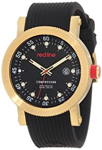 red line Men's RL-18000-YG-01 Compressor Black Dial Black Silicone Watch