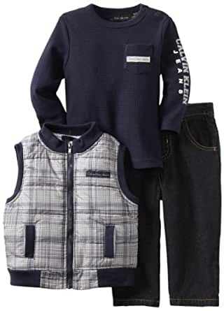 Calvin Klein Baby Boys' Plaided Vest With Long Sleeve Tee And Jean, Navy, 12 Months