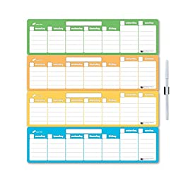 Dream-n-Play Flexible Dry Erase Magnetic Calendar, Tropical Dream, 13.5w x 14h inches, 4-Weekly Sections (O140T10)