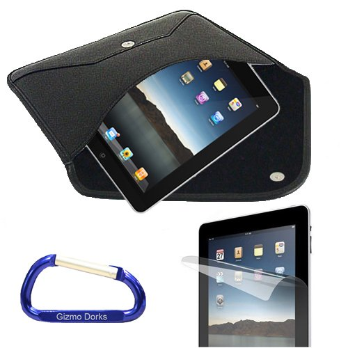 Envelope Faux Leather Slipcase (Black) and Screen Protector with a Free Carabiner Key Chain for the Apple iPad