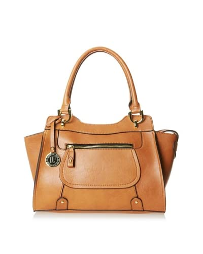 London Fog Women's Knightsbridge Four-Poster Satchel, Cognac As You See