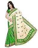FashionKhoj Bhagalpuri vibrant green saree with blouse.