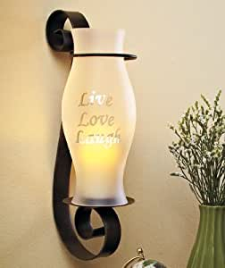 Flameless Candle Hurricane Sconce - Live Love Laugh