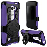 4 Items Combo For LG Leon LTE C40 / H320 / LG Destiny L21G / LG Power L22c (MetroPCS) Purple / Black Heavy Duty Hybrid Armor Style Combat Armor Dual Layer Protective Case Cover with Built in Kickstand and Belt Clip Holster + Car Charger + Free Stylus Pen + Free 3.5mm Stereo Earphone Headsets