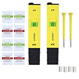 Etekcity 2 Pack 2011 Plus Digital pH Meter, 0.01 Resolution, 0.05 Accuracy Handheld Pen Tester (Yellow)