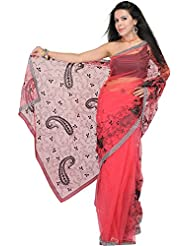 Exotic India Shimmer Sari With Sequins And Crewel Embroidery All-Over