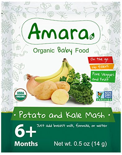 Organic Baby Food - NON GMO & GLUTEN FREE - Potato & Kale Mash Flavor (7 Pouches) for 6 Month Happy Healthy Toddlers - Natural Dried Fruit & Vegetable Stage 2 Mix with Breast Milk Formula or Water (Baby Food Level 3 compare prices)