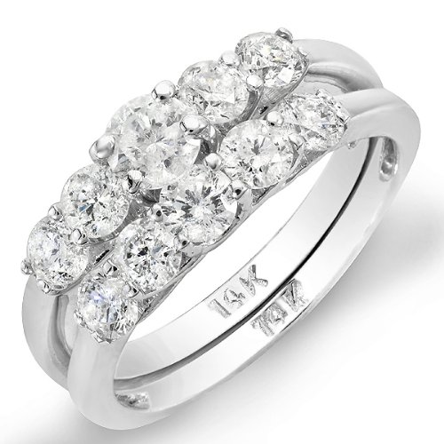 1.35 Carat (ctw) 14K White Gold Round White Diamond 5 Stone Engagement Bridal Ring Matching Band Set