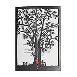 Black Wedding Invitations, Tree Invitations, Red Heart Wedding Invitation Cards (50)