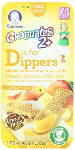 Gerber Graduates Dippers with Fruit Dip, Peach, Banana, Mango, 2 Count - 1.75 Ounce Packages (Pack of 6)