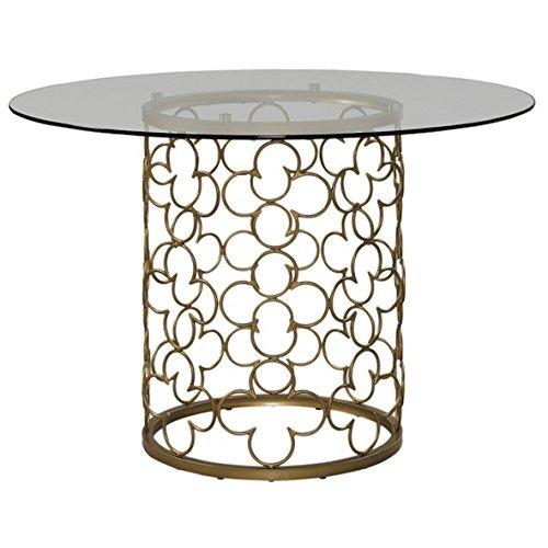 Quatrefoil Brush Gold Dining Room Table