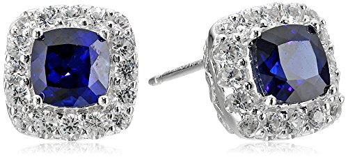 Sterling-Silver-Created-Blue-and-White-Sapphire-Cushion-Stud-Earrings