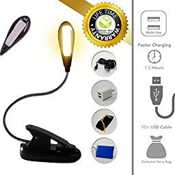 Eye Care Portable Book Light (Warm) - Rechargeable Reading Lamp for Bed - 4 HQ LED Bulbs - 2 Levels - Cordless Lightweight Clip On - BONUSES: 78\