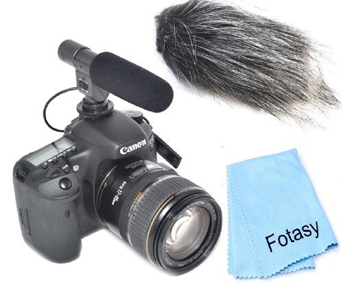 Fotasy M001 Pro Stereo Shootgun Microphone With Windshield And Cleaning Cloth For Canon, Nikon, Sony, Olympus, Pentax And Panasonic Hdslrs (Black)