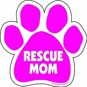 Imagine This 5-1/2-Inch by 5-1/2-Inch Rescue Mom Paw Car Magnet, Pink