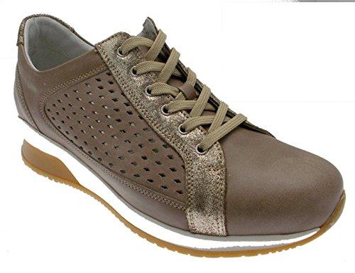 art C3663 lacci pelle tortora beige traforata scarpa donna 37 tortora