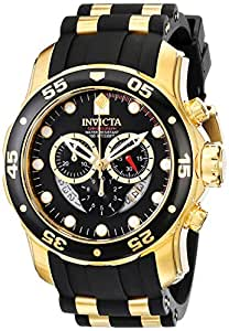 Invicta Pro Diver Men's Quartz Watch with Black Dial  Chronograph display on Black Rubber Strap 6981