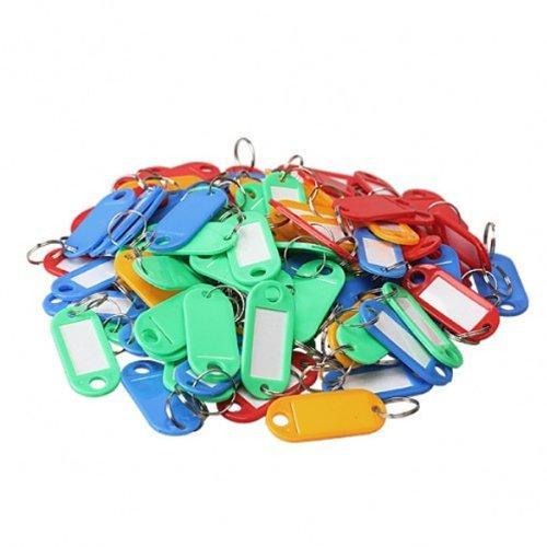 Dealglad 100 Pcs Plastic Key Tags Id Label Keyring with Key Chain Tag Card Split Ring
