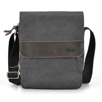 Zicac Mens Canvas Messenger Shoulder Bag Handbags Black and Brown Color