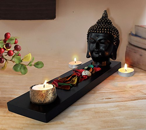TiedRibbons® Gift For Diwali Buddha Tlight Holder with Tray Set with T-light Candle
