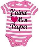 J'AIME MON PAPA' rayé bébé bodysuit