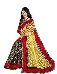 Utsav's Yellow & Black Apple Net Brasso Saree With Dhupian Blouse Piece - VMK8108