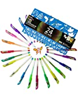 Gel Pens Set - Premium Quality - 24 Colored Pens - Glitter, Pastel, Neon, Black, White & More! - Bonus Stencil & Digital Coloring Art Book