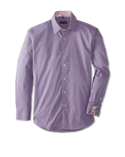 Jared Lang Men's Solid Long Sleeve Shirt with Paisley Detail