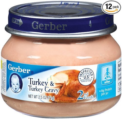 Gerber 2nd Foods Meats, Turkey & Turkey Gravy, 2.5-Ounce (Pack of 12)