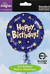 Anagram International Hx Happy Birthday Stars Foil Balloon, Multicolor