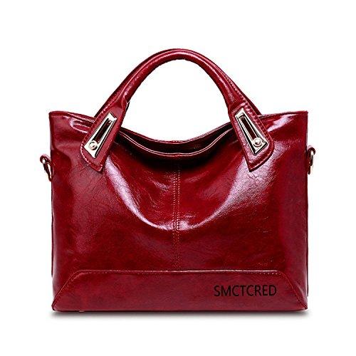 Moda-Olio PU ncient modi in pelle Borsa a tracolla in pelle morbida Borsa in pelle da donna con tracolla, a forma di borsetta a mano, per Tablet e iPad, colore: arancione, Rosso vino