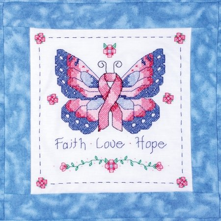 Janlynn 21-1479 Butterfly Of Hope Quilt Blocks Stamped Cross Stitch-15X15 6/Pkg