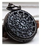 #1: LMP3Creation Black Classic Vintage Retro Antique Spider Web Net Small Love Heart Shape Round Hole Belt Pocket Watch With Chain (POW-0072)