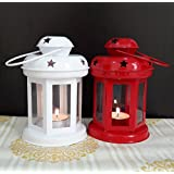 TiedRibbons Lantern For Decoration With Tealight Candle Set Of 2(White And Red)
