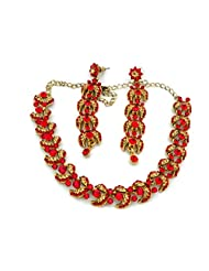 Mychamakbangles Fashion Jewellery Red+ Gold Austrian Crystal Gold Tone Necklace Set With Earrings