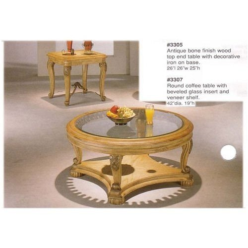 Buy Low Price 3 PC ANTIQUE BONE FINISH COFFEE TABLE SET