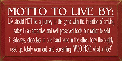 """Sawdust City 743a""""Motto To Live by Chocolate & Wine"""" Wooden Sign, Red"""