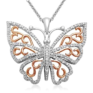 """18k Pink plated Sterling Silver Diamond Butterfly Pendant Necklace, 18"""""""