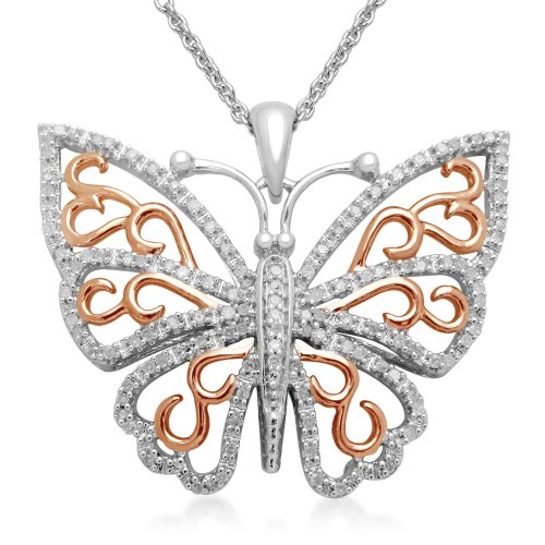 18k Pink plated Sterling Silver Diamond Butterfly Pendant Necklace, 18