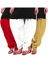 Women's Red White-Beige Cotton Patiala Salwar