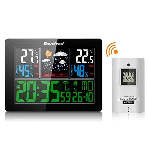 Excelvan-LCD-Funkwetterstation-Funkuhr-Thermometer-inkl-Auensensor-Reichweite-50-m-fr-zuhause-schwarz