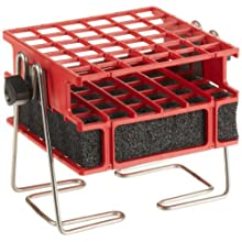 "Barnstead Red Half-Size Test Tube Rack Clamp, 10mm to 13mm, 6"" x 6"" Array"