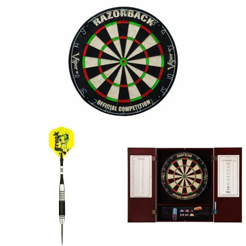 Viper Razorback Bristle Dart Board with Steel Tip Darts and Cabinet Bundle cuesoul professional electronic soft tip darts with 90